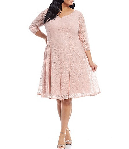 Ignite Evenings Plus Size Sweetheart Neckline Sequin Lace Dress