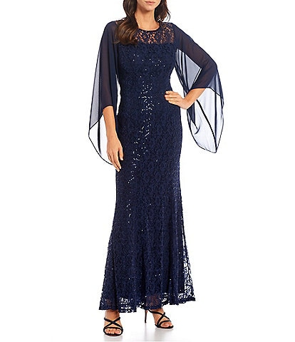 Ignite Evenings Jewel Illusion Neck 3/4 Sleeve Capelet Overlay Sleeve Sequin Lace Mermaid Gown