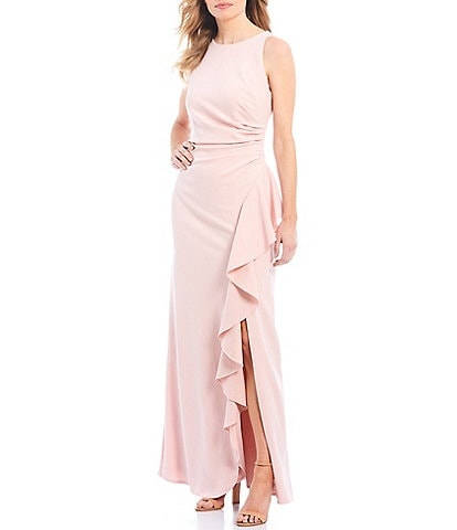 Ignite Evenings Ruffle Front Sleeveless Scuba Crepe Gown