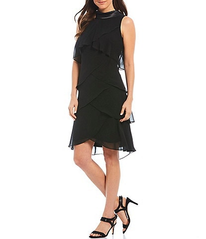 Ignite Evenings Satin Roll Collar V-Back Chiffon Tiered Shift Dress