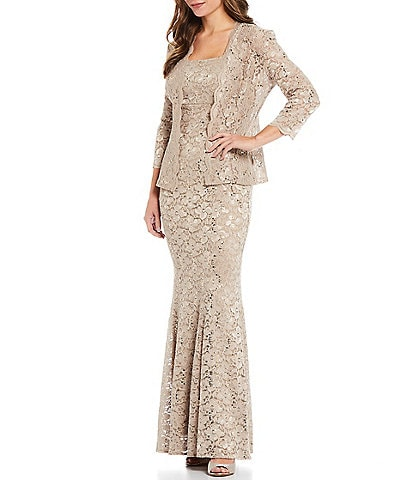 Ignite Evenings Scalloped Sequin Lace 2-Piece Mermaid Jacket Dress