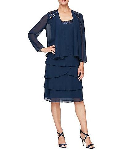Ignite Evenings Scoop Neck Long Sleeve Sequin-Detail Chiffon Jacket Dress