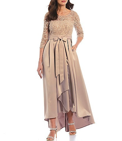 Ignite Evenings Sequin Lace Bodice Hi-Low Satin Gown