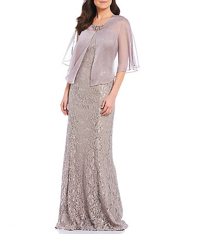 Ignite Evenings Sequin Lace Cape Chiffon 2-Piece Gown