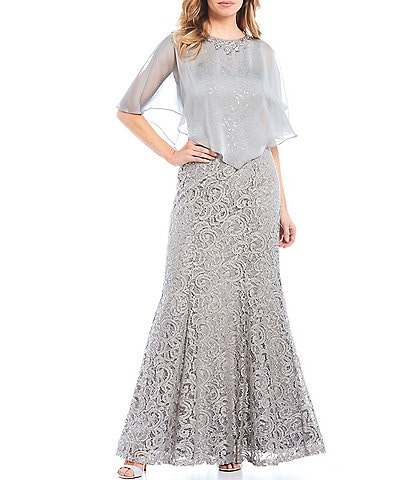 Ignite Evenings Sequin Lace 2-Piece Capelet Gown