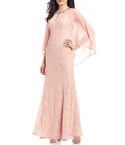 Ignite Evenings Sequin Lace Chiffon Capelet Gown