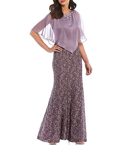 Ignite Evenings Sequin Lace Chiffon Popover Capelet 2-Piece Gown
