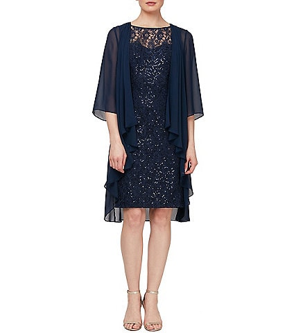 Ignite Evenings Sequin Lace Jacket Dress