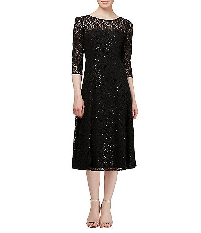 Ignite Evenings Sequin Lace Midi Dress