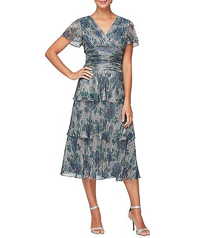 Ignite Evenings Sheer Cap Sleeve Stretch Foil Bodre Tiered Dress
