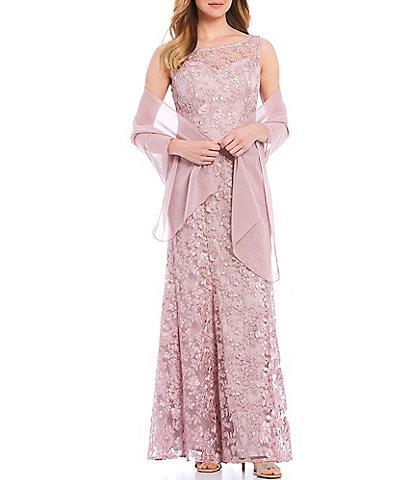 Ignite Evenings Sheer Yoke Embroidered Lace Chiffon Round Neck Sleeveless Shawl Gown