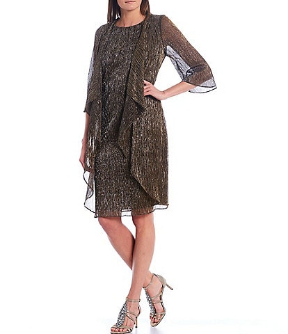 Ignite Evenings Shimmer Metallic 3/4 Sleeve One Piece Faux Jacket Dress