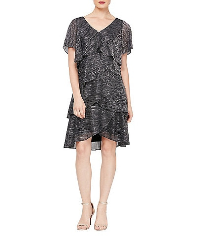 Ignite Evenings Shimmer Tiered Ruffle Short Sleeve Dress