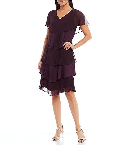 Ignite Evenings Short Flutter Sleeve Embellished Neck Detail Tiered Satin Chiffon Dress