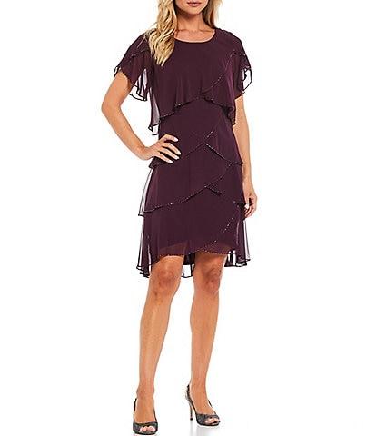 Ignite Evenings Short Sleeve Beaded Trim Tiered Jewel Neck Short Flutter Sleeve Dress