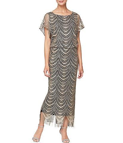 Ignite Evenings Short Sleeve Fringe Hem Crochet Blouson Round Neck Long Dress