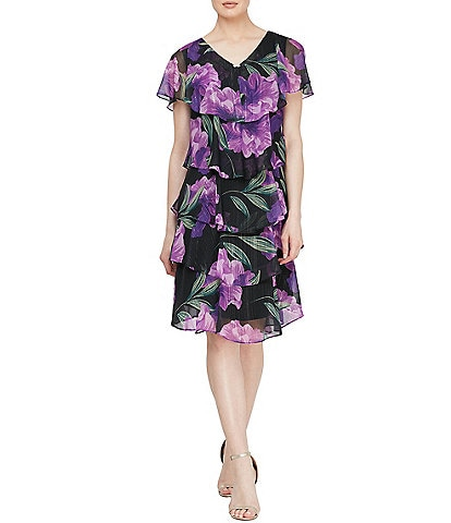 Ignite Evenings Short Sleeve Glitter Floral Tiered Chiffon Dress