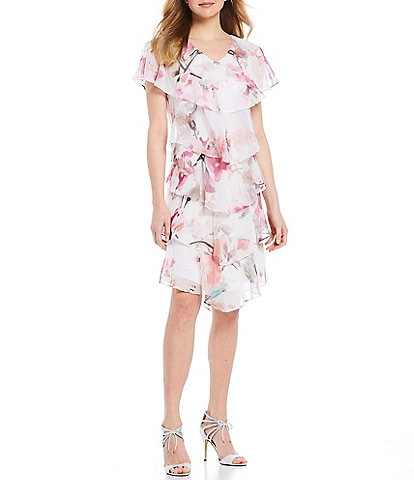Ignite Evenings Short Sleeve Tiered Floral Chiffon Dress