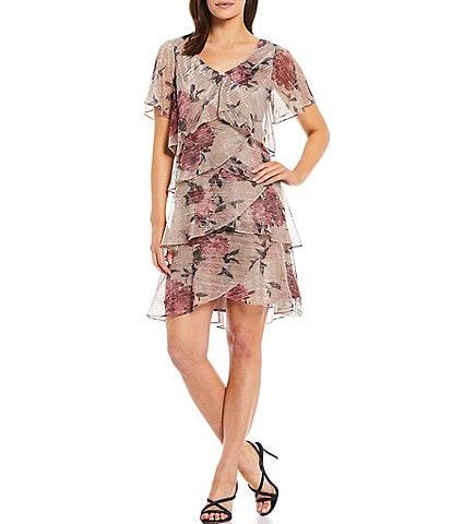 Ignite Evenings Short Sleeve V-Neck Embellishment Floral Tiered Dress