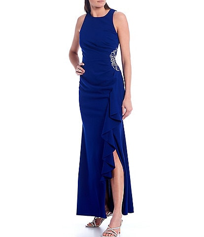 Ignite Evenings Sleeveless Embellished Side Ruffle Gown