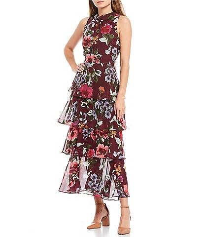 Ignite Evenings Sleeveless Floral Mock Neck Chiffon Tier Dress