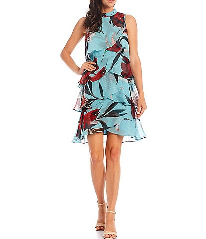 Ignite Evenings Sleeveless Floral Ruched Mock Neck Tier Dress