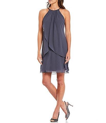 Ignite Evenings Sleeveless Halter Neck Embellished Dress