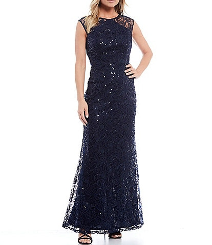 Ignite Evenings Sleeveless Lace Shimmer Sequined Gown