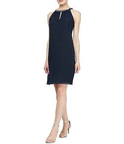 Ignite Evenings Sleeveless Pearl Neck Sheath Dress