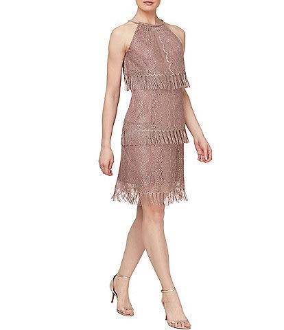 Ignite Evenings Tiered Crochet Fringe Sleeveless Sheath Dress