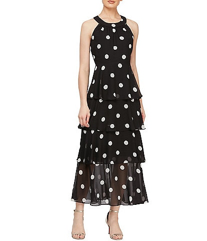 Ignite Evenings Tiered Polka Dot Halter Neck Chiffon Maxi Dress