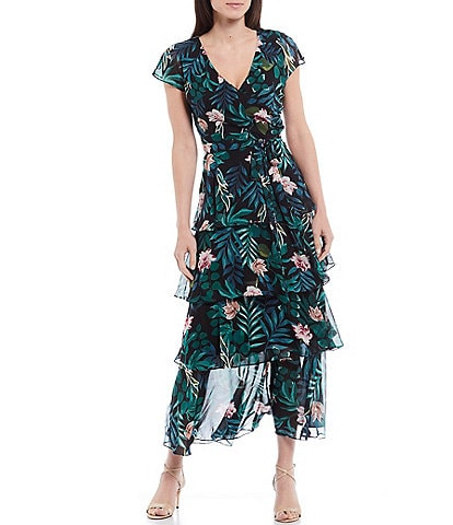 Ignite Evenings Tropical Floral Print Tiered Chiffon V-Neck Cap Sleeve Maxi Dress