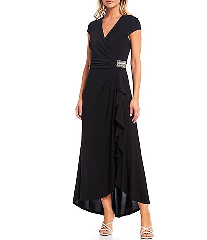 Ignite Evenings V-Neck Cap Sleeve Embellished Waist Hi-Low Gown