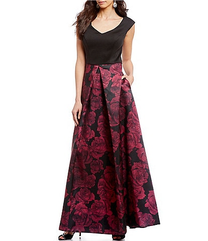 Ignite Evenings V-Neck Cap Sleeve Jacquard Floral Print Ballgown