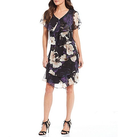 Ignite Evenings V-Neck Floral Print Ruffled Capelet Dress