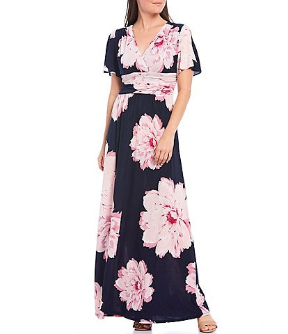 Ignite Evenings V-Neck Flutter Sleeve Floral Print Maxi Dress