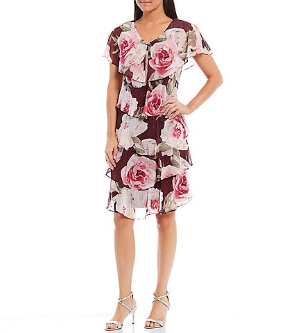 Ignite Evenings V-Neck Short Sleeve Floral Tiered Dress