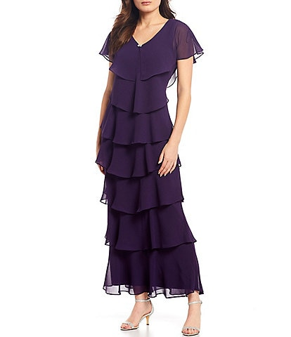 Ignite Evenings Flutter Sleeve V-Neck Tiered Chiffon Gown