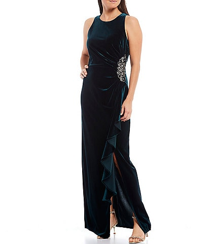 Ignite Evenings Velvet Ruched Ruffle Sleeveless Gown