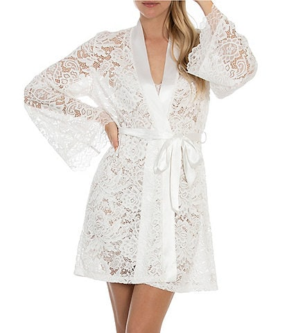 In Bloom by Jonquil Allover Lace Short Wrap Robe