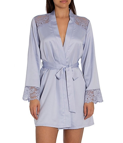 In Bloom by Jonquil Because Matte Satin Lace Trimmed Short Wrap Robe