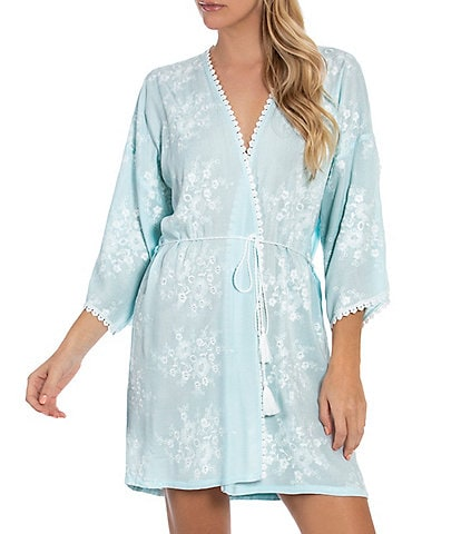 In Bloom by Jonquil Bird Song Embroidered Short Wrap Robe