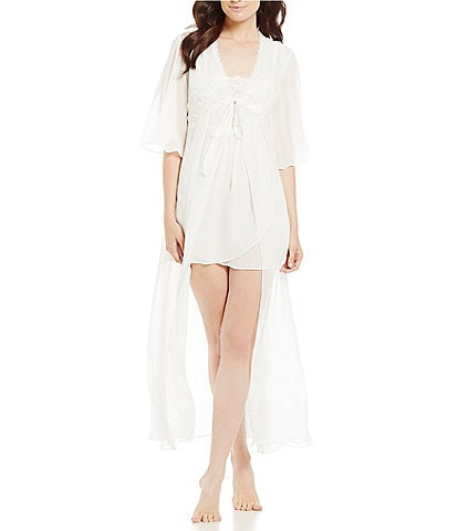 In Bloom by Jonquil Celeste Lace-Trimmed Floral-Embroidered Chiffon Robe