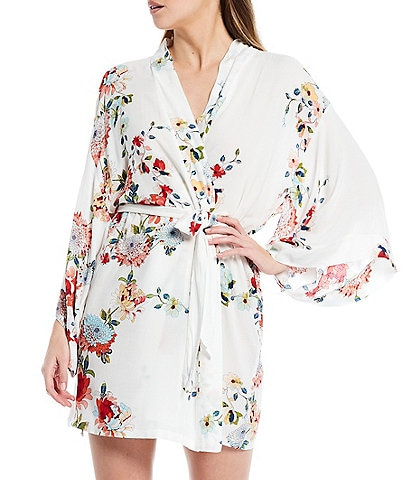 In Bloom By Jonquil Floral Print Matte Satin Short Wrap Robe