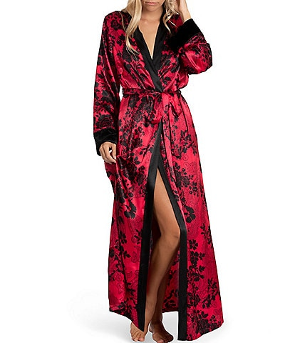 In Bloom by Jonquil Floral Print Satin Long Wrap Robe