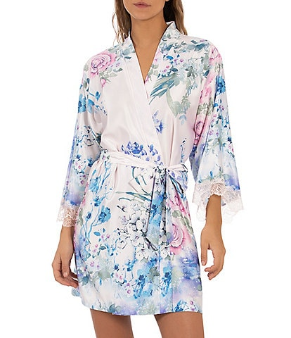 In Bloom by Jonquil Floral Printed Matte Satin Short Wrap Robe