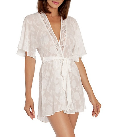 In Bloom by Jonquil Jacquard Crinkled Floral-Print Wrap Robe