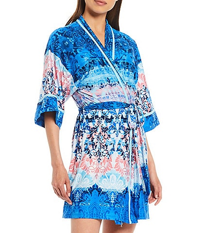 In Bloom by Jonquil Madeira Printed Jersey Knit Short Wrap Robe