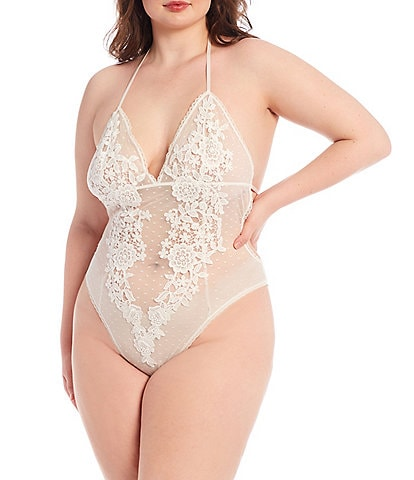 In Bloom by Jonquil Magnolia Lace & Mesh Dot Halter Neck Teddy