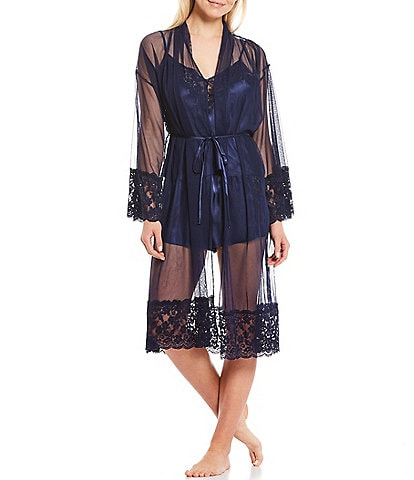 In Bloom by Jonquil Mesh & Lace Long Wrap Robe